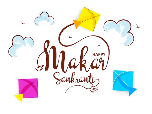 Stylish calligraphy of makar sankranti Premium Vector
