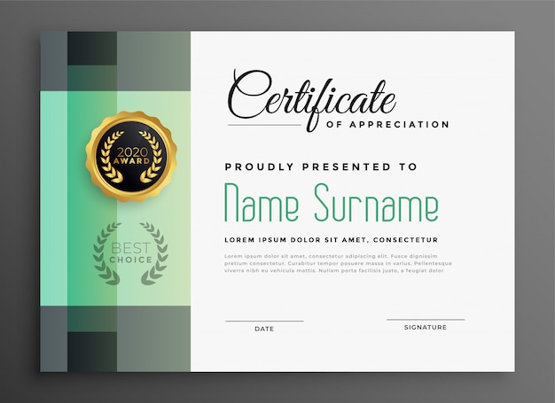 Stylish certificate of appreciation modern template Free Vector