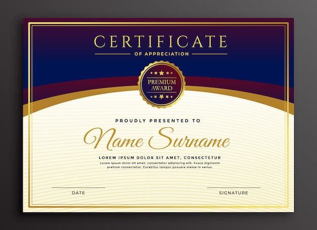 Stylish certificate design professional template Free Vector