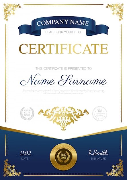 Stylish certificate design Free Vector