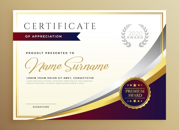 Stylish certificate template design in golden theme Free Vector