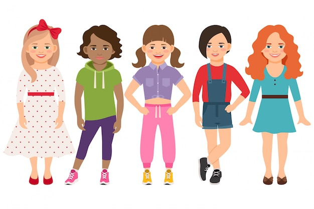 Stylish child girls vector illustration. blonde and brunette, brown haired and redhead little girl set isolated Premium Vector