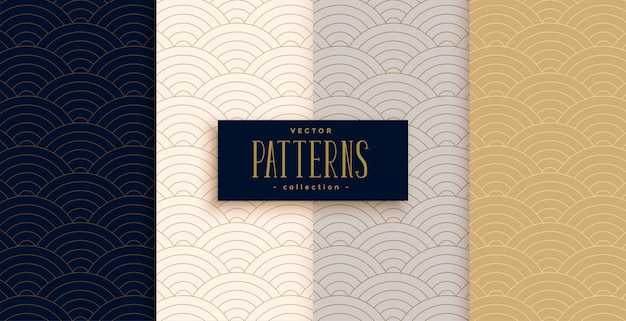 Stylish chinese traditional curve lines pattern set Free Vector