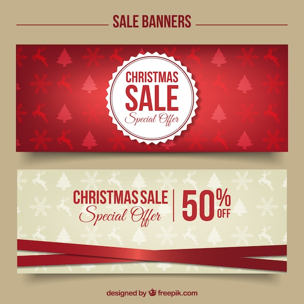 Stylish christmas discount banners Vector | Free Download