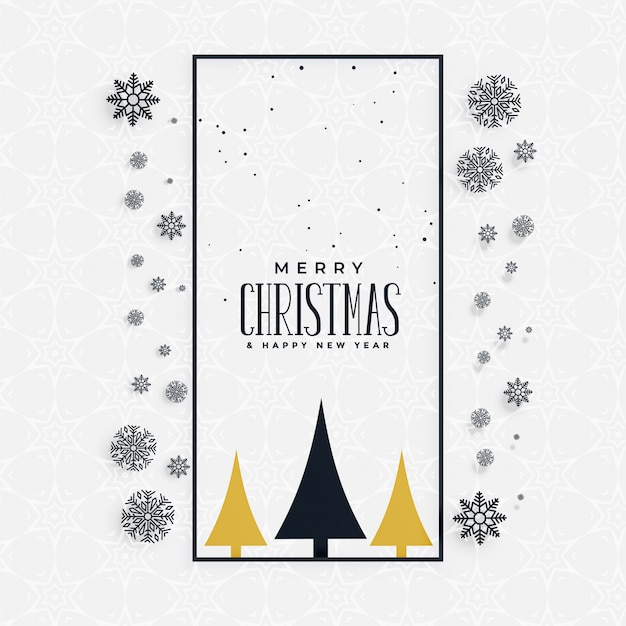 Stylish christmas greeting with snowflakes and tree Free Vector