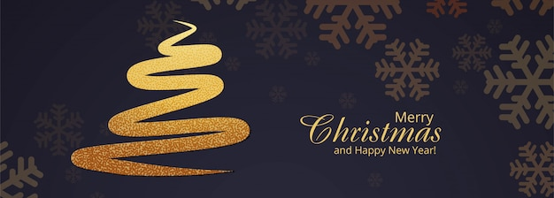 Stylish christmas tree banner template Free Vector