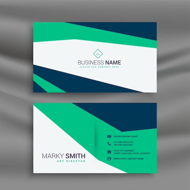 Stylish clean geometric business card template Free Vector