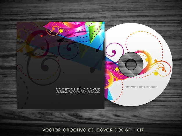 Stylish colorful cd cover design Vector Free Download