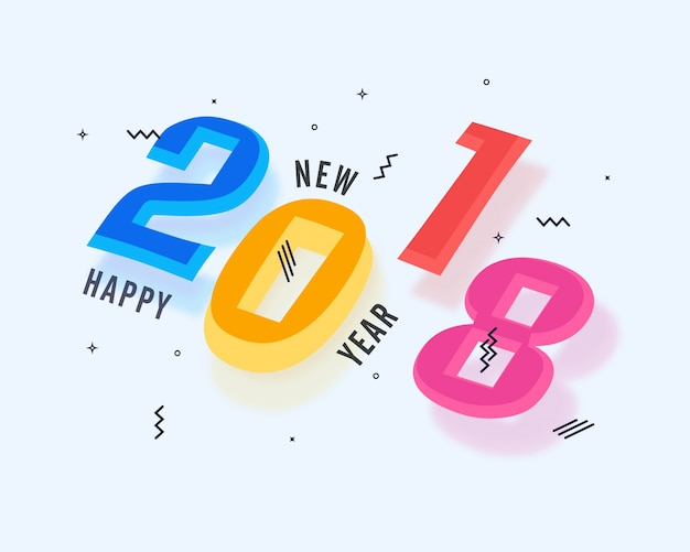 Stylish colorful text 2018 for Happy New Year celebrations ...