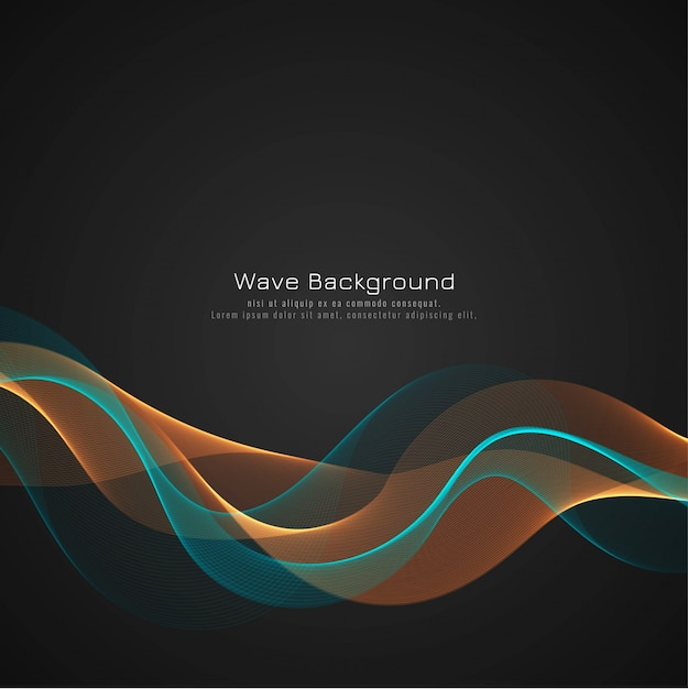 Stylish colorful wave dark background vector Free Vector