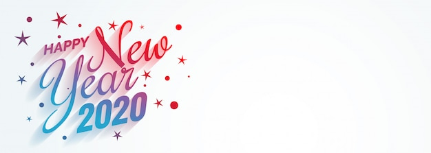 Stylish creative happy new year 2020 banner Free Vector