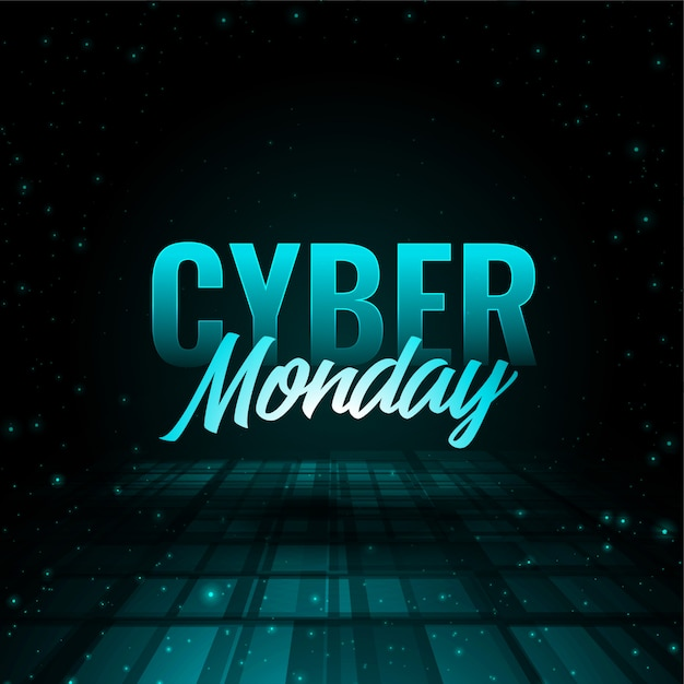 Stylish cyber monday 3d effect banner  design Free Vector