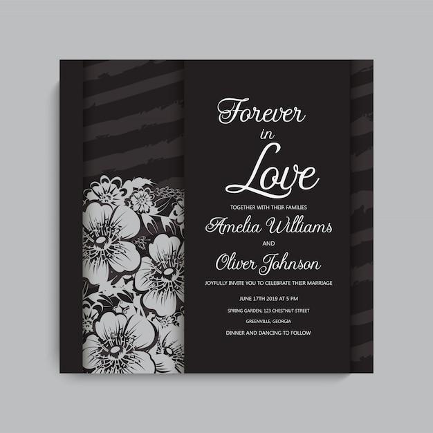 Stylish dark wedding frame with flowers. Premium Vector