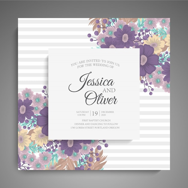 Stylish dark wedding frame with flowers. Free Vector