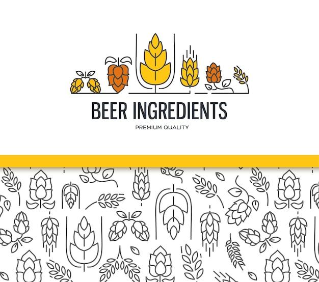맥아 원활한 패턴이있는 두 개의 필드와 홉, 꽃, 맥아의 나뭇 가지가있는 텍스트 맥주 성분이있는 세련된 디자인 컬렉션 무료 벡터