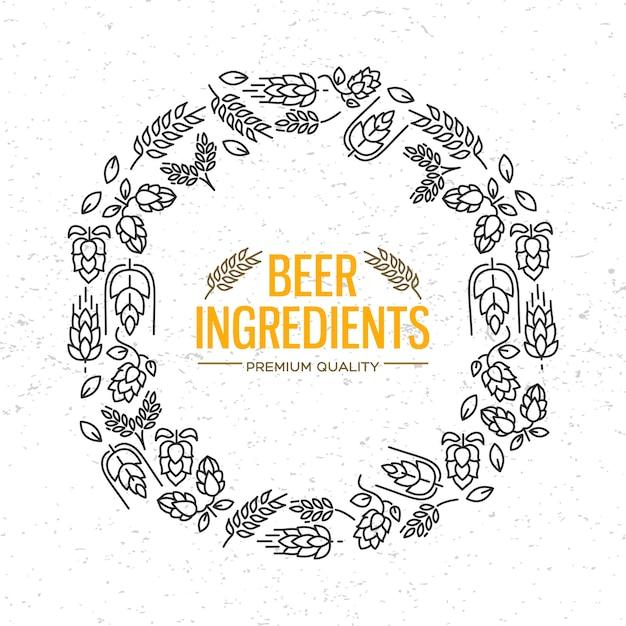 花、ホップの小枝、花、モルトのアイコンが中央にビールの材料という言葉の周りにあるスタイリッシュなデザインの丸いフレーム 無料ベクター