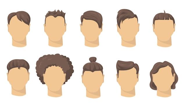 ウェブデザインのためのスタイリッシュな別の男性のヘアカットフラットセット。流行に敏感な分離ベクトルイラストコレクションの漫画の男の短い髪型。理髪店、ファッションとスタイルのコンセプト 無料ベクター