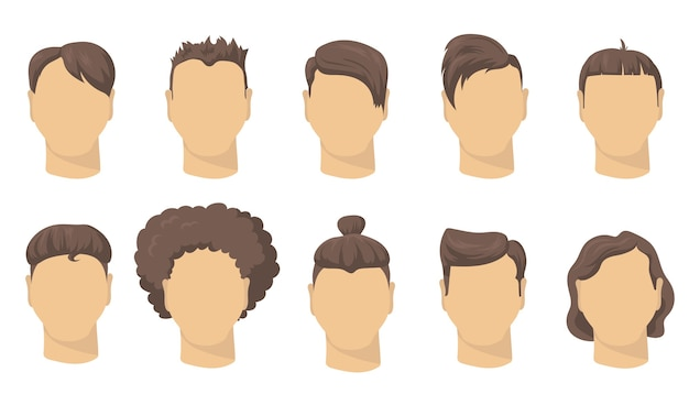 Free Vector Stylish Different Male Haircut Flat Set For Web Design Cartoon Man Short Hairstyles For Hipsters Isolated Vector Illustration Collection Barber Shop Fashion And Style Concept