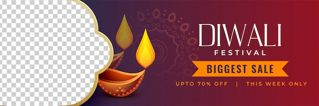 Stylish diwali discount banner with image space Free Vector