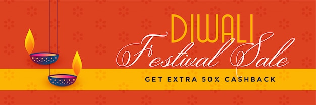 Stylish diwali festival sale and discount banner design Free Vector