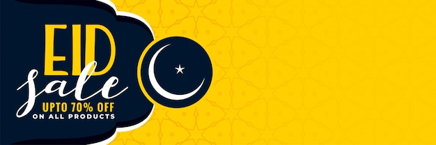 Stylish eid sale banner with copyspace Free Vector