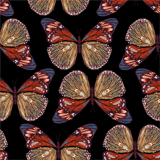 Stylish embroidery of colorful butterflies seamless pattern in illustrations, Premium Vector