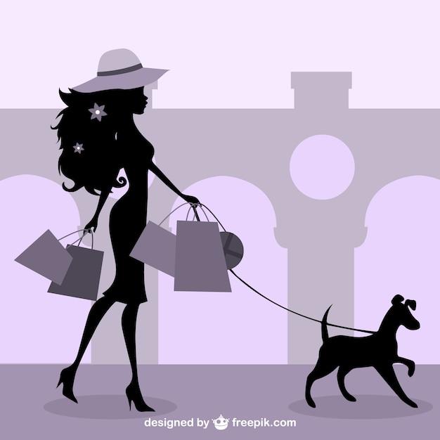 Stylish Fashion Girl Shopping Vector Free Download