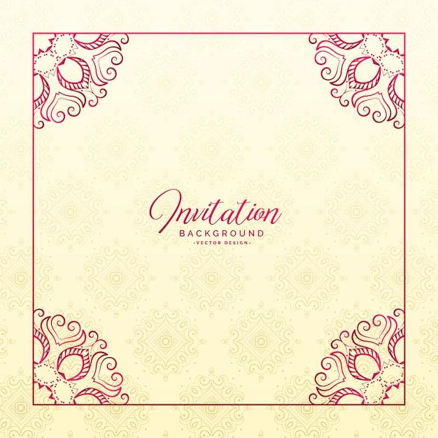 stylish floral border frame invitation background vector free download