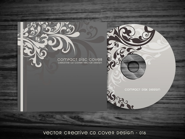 Stylish floral cd cover design Free Vector