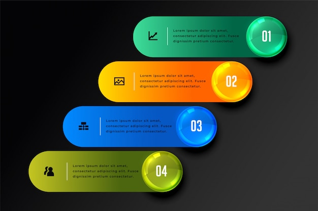 Stylish four steps infographic in dark theme Free Vector