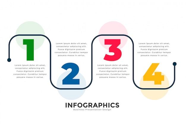 세련 된 4 단계 현대 선 infographic 템플릿 무료 벡터