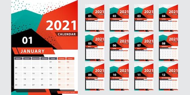 Стильный геометрический календарь на 2021 год Бесплатные векторы