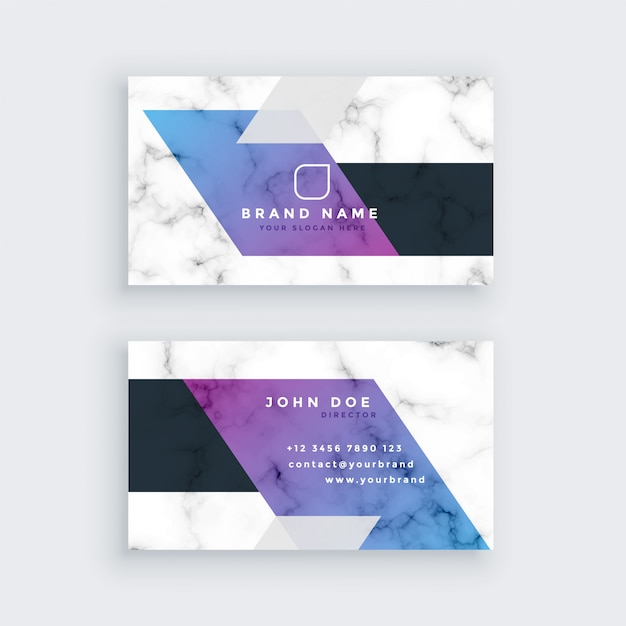 Stylish geometric marble business card design Free Vector