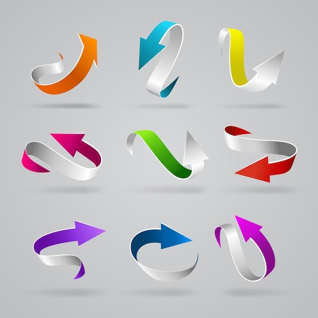 세련 된 광택 D 곱슬 화살표 웹 요소 아이콘 세트 화려한 스트라이프 라인 문자열 포인터 인터넷 요소 프리미엄 벡터