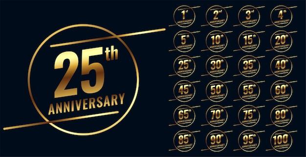 Stylish golden anniversary emblem big set Free Vector