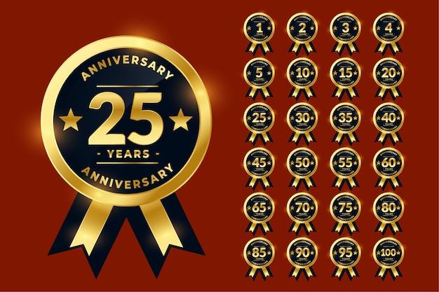 Stylish golden anniversary labels or logotype emblem big set Free Vector