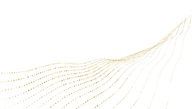 Stylish golden dots wave lines background Free Vector