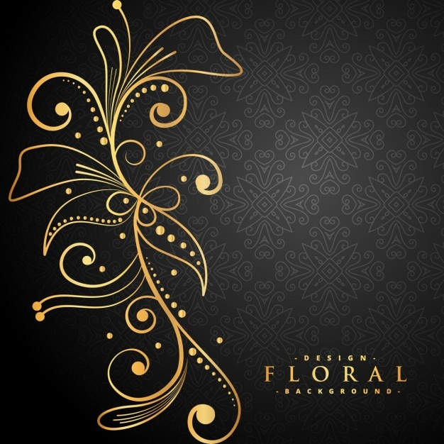 Stylish golden floral decoration on black background Free Vector