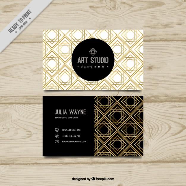 Stylish Golden Geometric Shapes Visiting Card