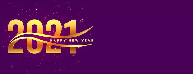 Stylish golden happy new year  on purple background Free Vector