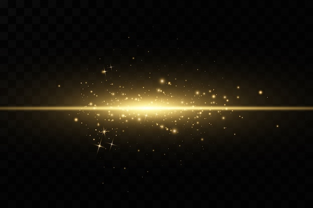 Stylish golden light effect. abstract laser beams of light. chaotic neon rays of light. golden glitters. isolated on transparent dark background. Premium Vector