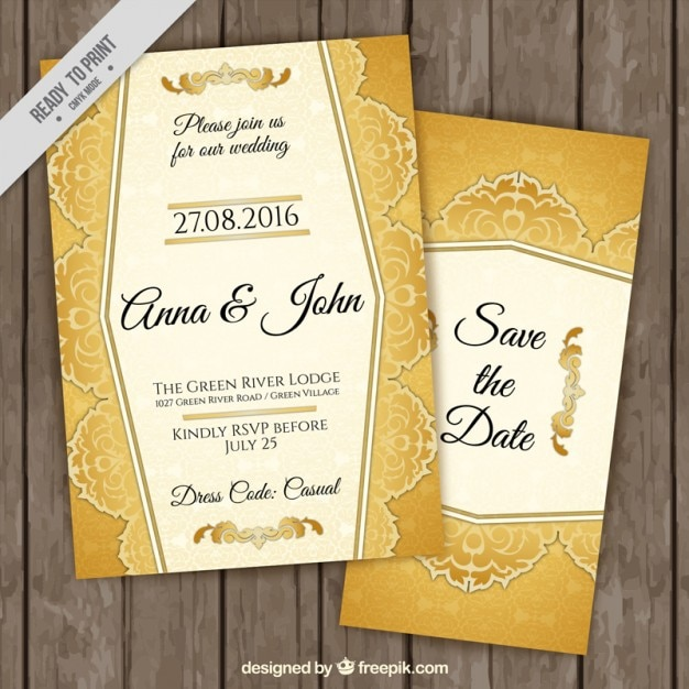 stylish golden wedding invitations vector free download