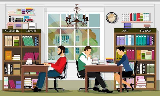 Стильный интерьер графической библиотеки с мебелью и людьми. читальный зал библиотеки. подробный набор: книги, книжные полки, шкафы, столы, люди. иллюстрация. Premium векторы