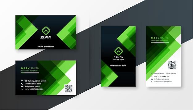 スタイリッシュな緑のビジネスカードのデザインテンプレートセット 無料ベクター