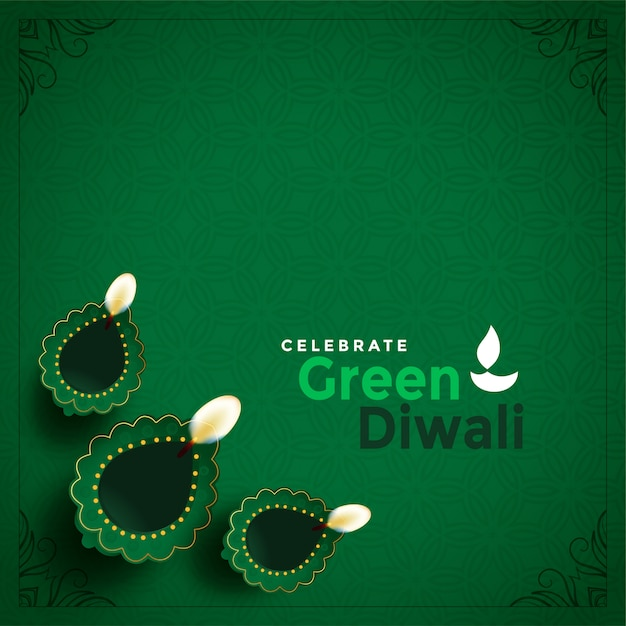 Stylish green diwali concept beautiful illustration Free Vector