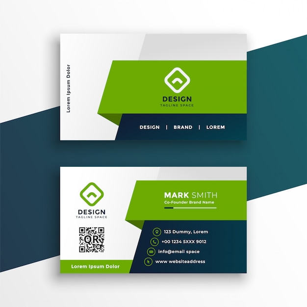 Stylish green geometric business card design template Free Vector