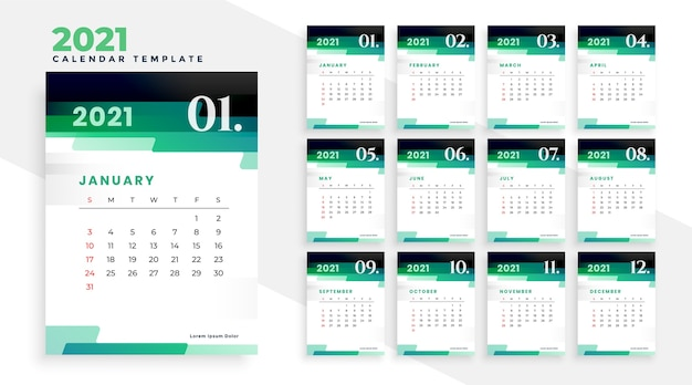 Stylish green modern new year 2021 calendar design template Free Vector