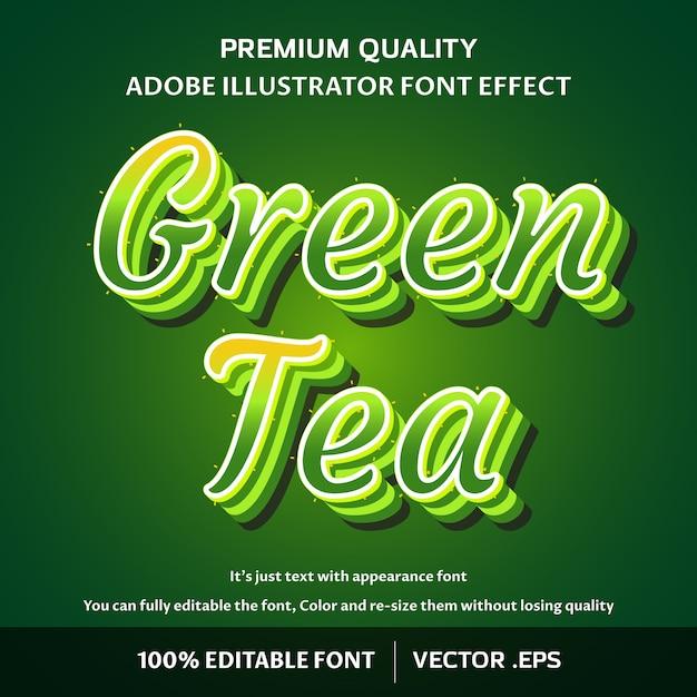 Stylish green tea script editable text effect Premium Vector
