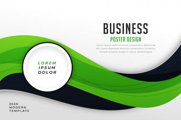 Stylish green theme business presentation template Free Vector