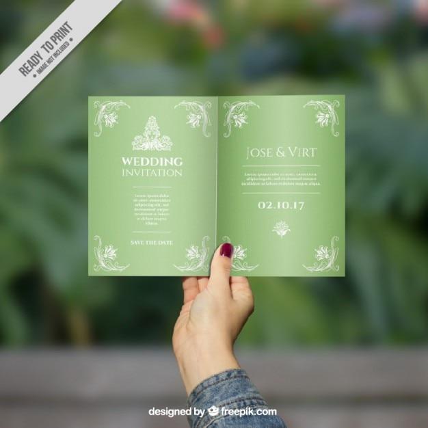 Stylish green wedding invitation vector free download stylish green wedding invitation free vector stopboris Images